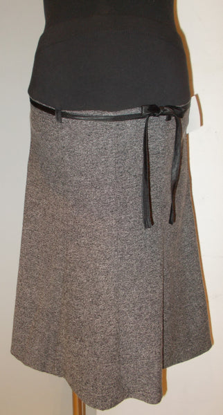 Motherhood Maternity grey suiting material textured flare skirt with waist tie