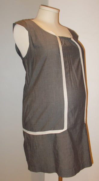 Acote grey linen shift mini dress