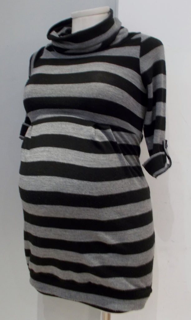 Jules & Jim Maternity black and grey stripe cowl neck sweater tunic dress