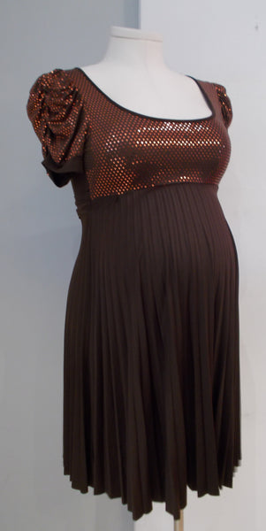 Uno Care (Spain) - Brown Sparkle Pleat Dress