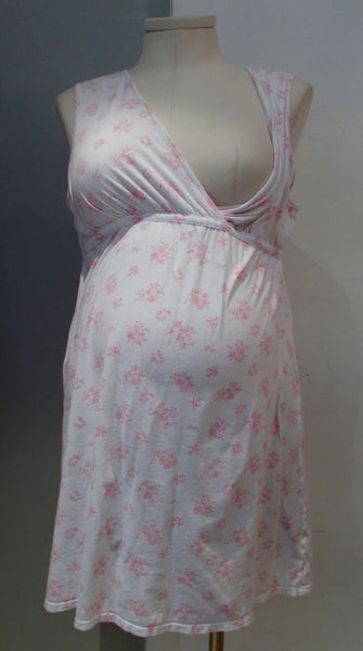 Motherhood Maternity white and pink floral print 2 pc nightgown and housecoat set