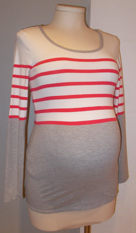 Thyme Maternity solid and stripe scoop neck top