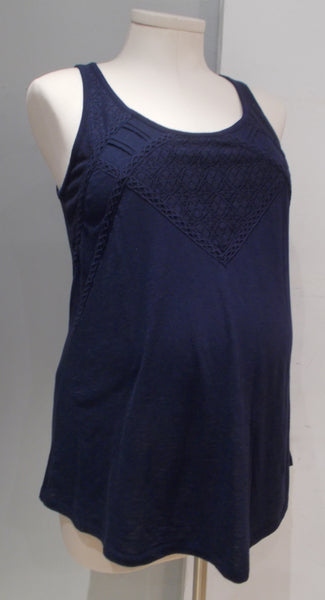 Motherhood Maternity navy lace detailed sleeveless top