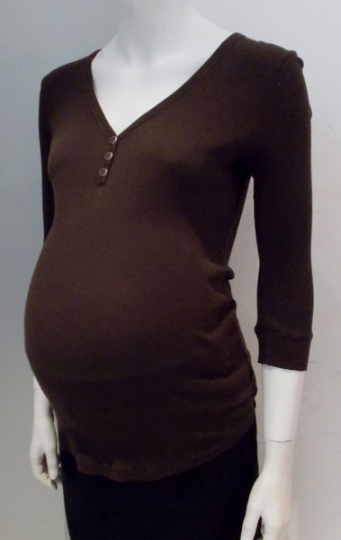 Old Navy Maternity Thin Ribbed 3 Button Henley Top