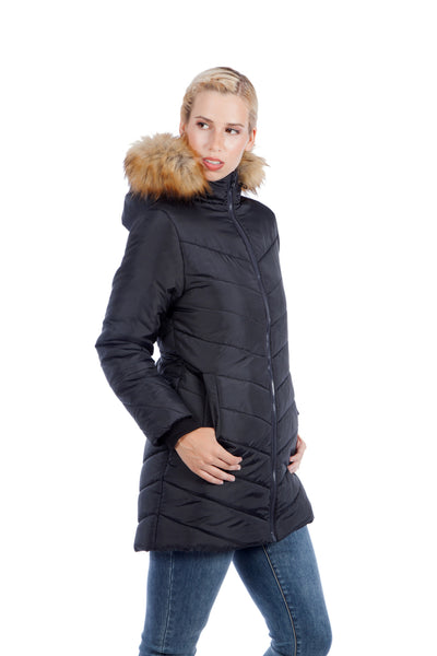 Modern Eternity LEXIE 3-in-1 Fur Trimmed Hood Maternity Puffer Coat Black