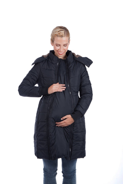 Modern Eternity MADISON 3-in-1 Long Quilted Maternity Puffer Coat Black