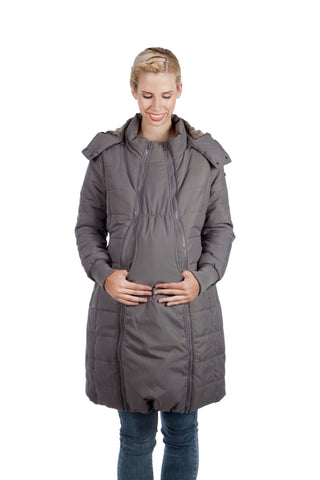 Modern Eternity MADISON 3-in-1 Long Quilted Maternity Puffer Coat Grey