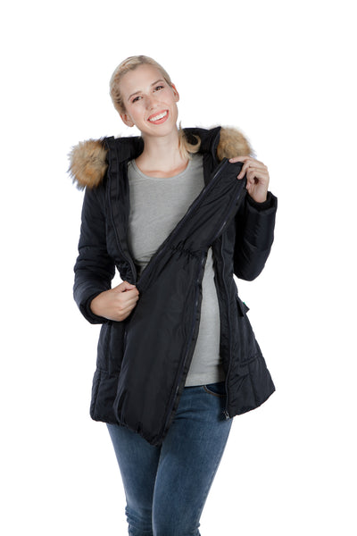 Modern Eternity RACHEL – 3-in-1 Mid-thigh Maternity Puffer Coat Black