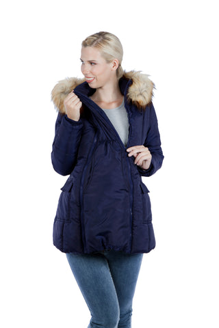 Modern Eternity RACHEL – 3-in-1 Mid-thigh Maternity Puffer Coat Navy
