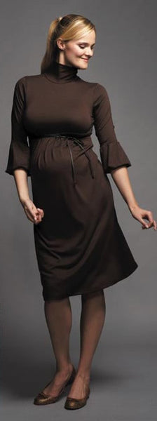 Maternal America Brown Mock Turtleneck Dress