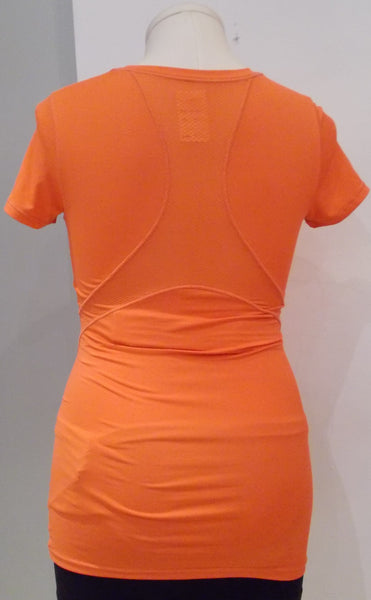 Thyme Maternity orange short sleeve mesh insert active top