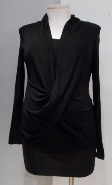 Thyme Maternity black long sleeve crossover nursing top