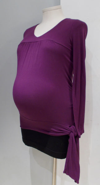 Thyme Maternity purple long sleeve scoop neck top with waist tie