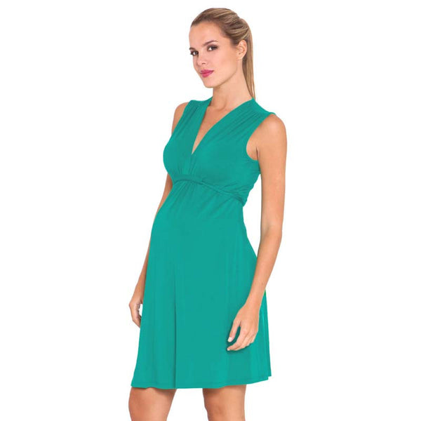 Olian Maternity Sleeveless V-Neck Lucy Dress - Aruba Teal or Magenta