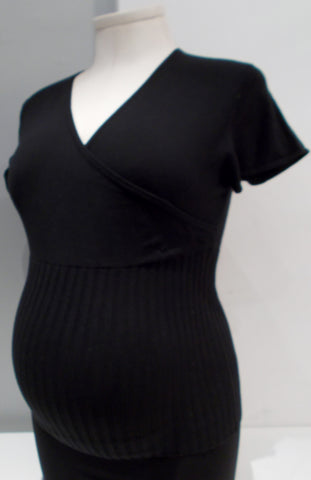 Duet Maternity - Faux Wrap Short Sleeve Sweater