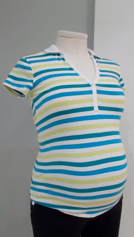 Motherhood Maternity - Collared VNeck Stripe Tee