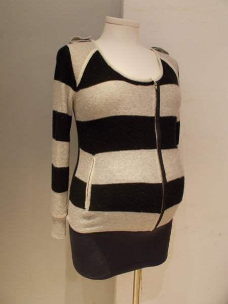 A Pea In A Pod Jamison Maternity striped wool and cashmere asymetrical zip up