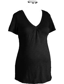 Old Navy Maternity V-Neck Slub Knit Tee Black