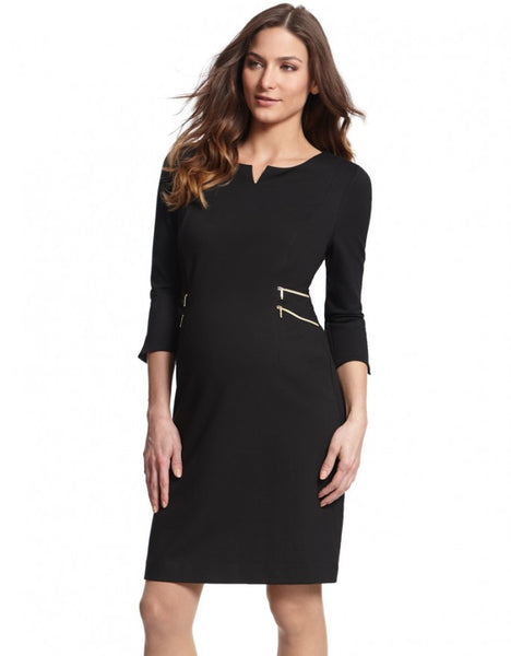Seraphine Maternity Black Zip Detail Dress