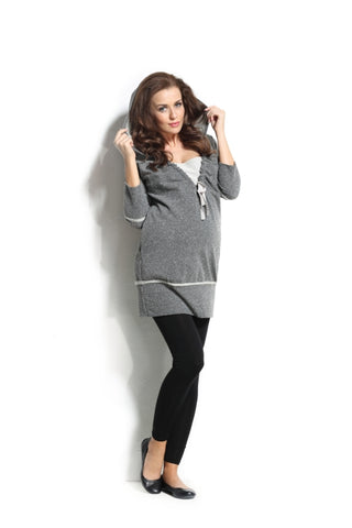 9Fashion Maternity Sabien Hoodie Tunic **Also Nursing friendly
