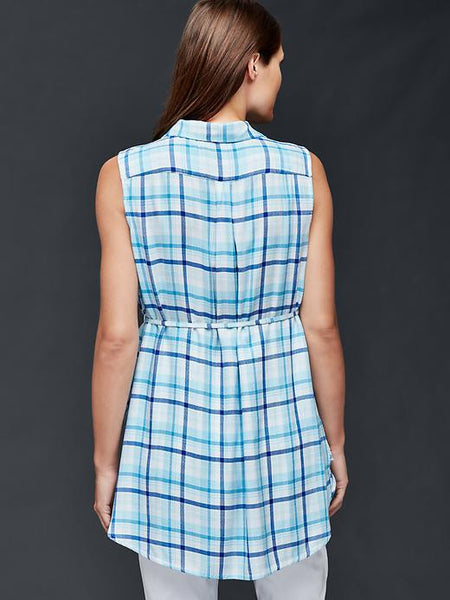 Gap Maternity Plaid tie-belt shirt