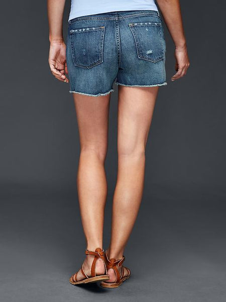 Gap Maternity AUTHENTIC 1969 demi panel frayed summer shorts