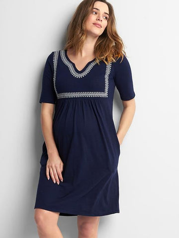 Gap Maternity embroidered split-neck dress