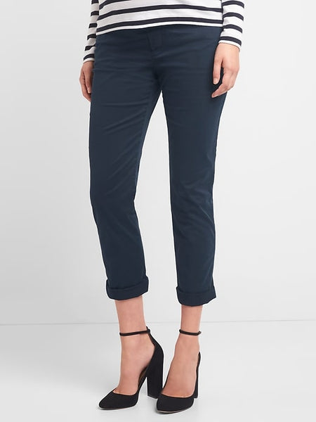 Gap Maternity demi panel best girlfriend true indigo chino pant