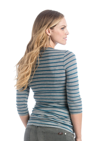 Lilac Clothing Maternity Michelle Top Teal/Grey Stripe