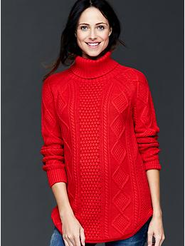 Gap Maternity Cable Knit Turtleneck Sweater Red