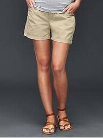 Gap Maternity khaki demi panel twill shorts