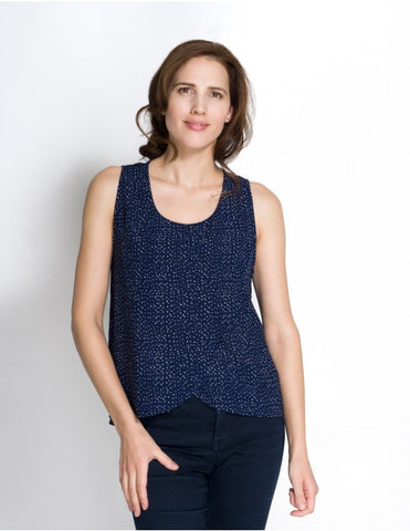 Momzelle Maggie Nursing Top - Navy Dot