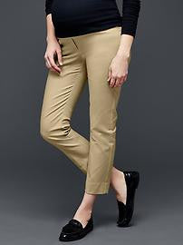 Gap Maternity full panel slim cropped pants beige size:18