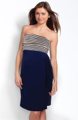 Maternal America Navy and Beige Stripe Strapless Dress