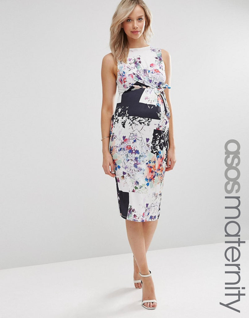 Asos maternity midi dress with knot front in floral square print asos maternity midi dress with knot front in floral square print ombrellifo Choice Image