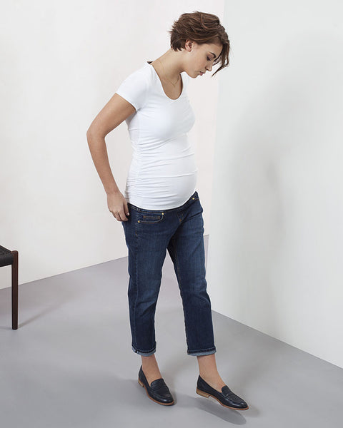 Isabella Oliver Ruched Maternity T-Shirt, White