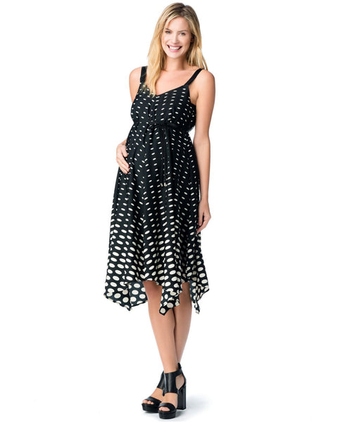 Jessica Simpson Maternity dot handkerchief hem dress