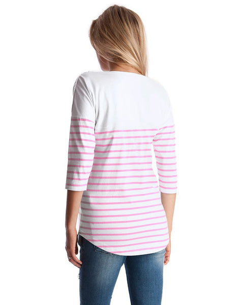 Seraphine Maternity & Nursing Neon Pink Striped Cotton Top