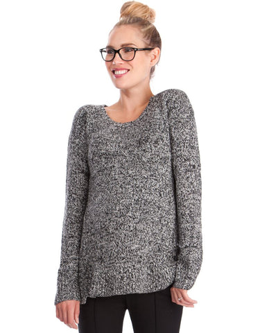 Seraphine Maternity Salt & Pepper Nursing Sweater