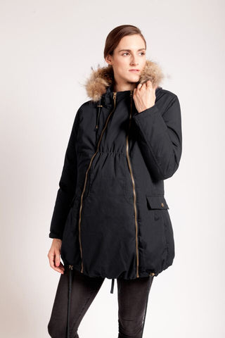 Modern Eternity Winter Parka with Fur trim hood - black
