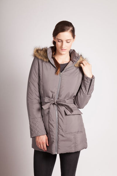 Modern Eternity RACHEL – 3-in-1 Mid-thigh Maternity Puffer Coat Grey