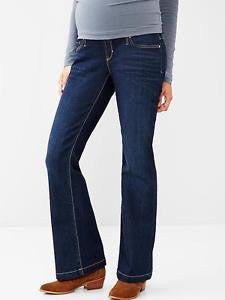 Gap Maternity Long & Lean full panel dark wash bootcut jeans