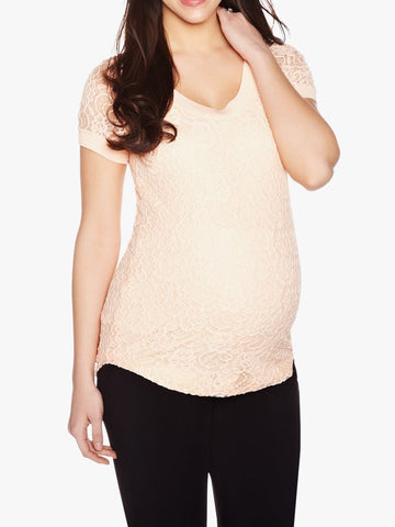 Thyme Maternity Lace Maternity Top With Back Zipper