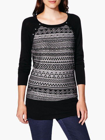 Thyme Maternity Long Sleeve Patterned Nursing Sweater