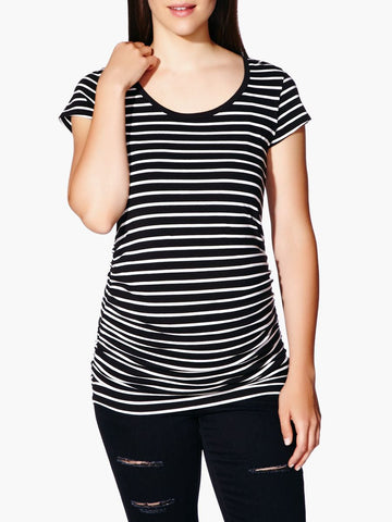 Thyme Maternity Scoop Neck Striped Maternity T-Shirt