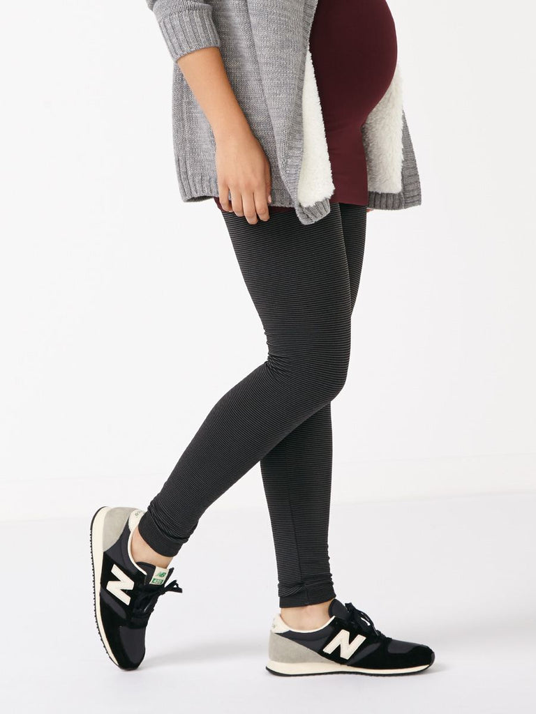 Thyme Maternity Striped Fleece Legging