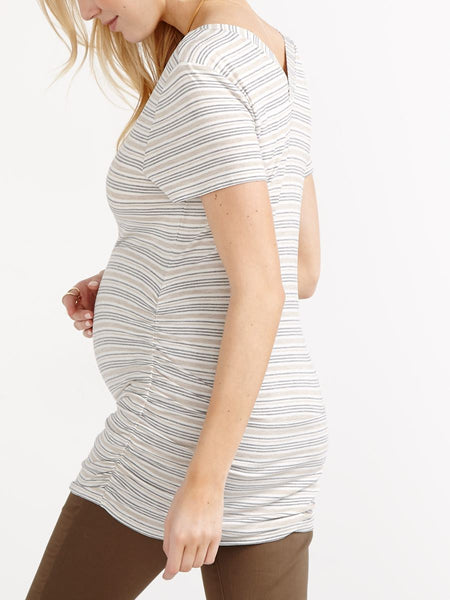 Thyme Maternity Short Sleeve Striped Top