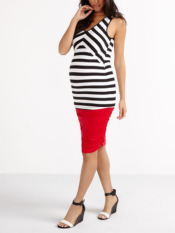 Stork & Babe Maternity Sleeveless Striped Maternity Top