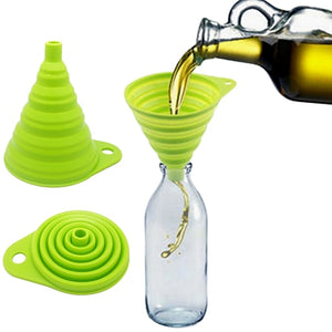 New Arrival Mini Silicone Gel Foldable Collapsible Style Funnel Hopper Practical Kitchen Tool