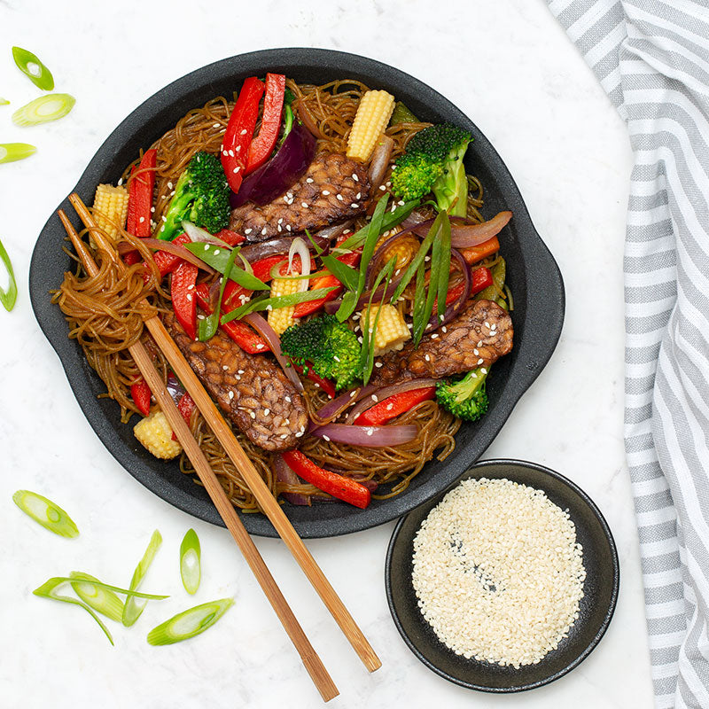 Vegan Tempeh Singapore Noodles